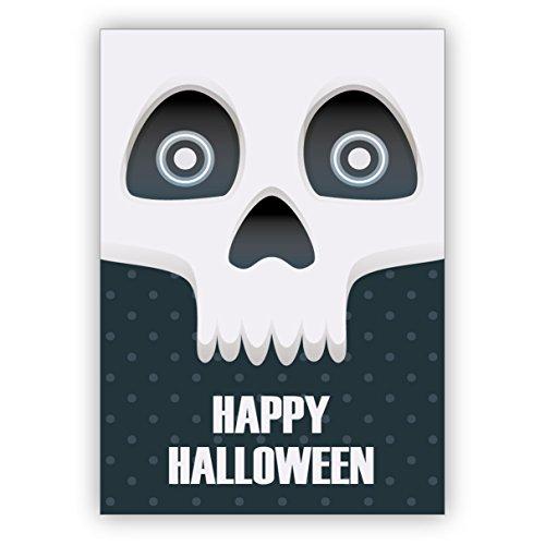 Monster coole Halloween Grußkarte mit gruseligem Totenkopf: Happy (Halloween Paar Ideen)