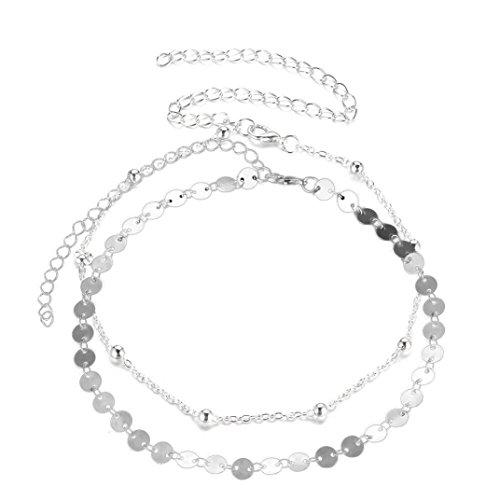 Kette Damen, HUIHUI 2PCS Halskette Anhänger Damen elegant Mehrschichtige Legierung Anhänger Halskette Pendant Halskette Kette amulett zum öffnen mit kette Halskette für Frauen Mädchen (Silber)