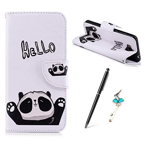 Huawei Y5 2017 / Huawei Y6 2017 Hülle, Gemalt Muster Schutzhülle Lederhülle Magnetische Schnalle Premium PU Leder Flip HandyCase Brieftasche Kreditkarte Taschen Etui Handyhülle - HEELO Panda