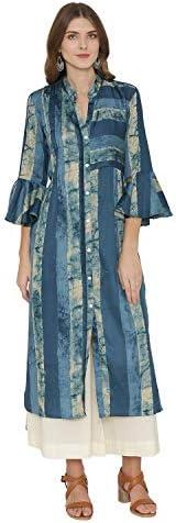 Pinkshink Blue Viscose Modal Indian/Pakistani Women's Printed Kurta