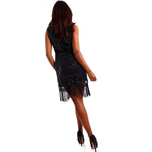 Damen Minikleid Partykleid Pailletten Fransen Blau