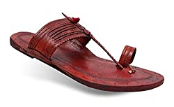 Unique Mens Kolhapuri Chappal With Dark Brown Colour (UK 8)