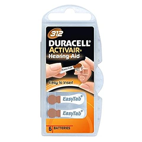 Duracell EasyTab/Activair Type 312Hearing Aid Batteries Zinc