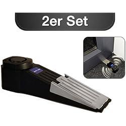 kh security Alarm-Türstopper inklusive LED-Batteriekontrolle Safety First 2-er Set, schwarz, 100116set2