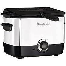 Moulinex Minifrito AF220010 - Freidora (capacidad de 1 litro de aceite, para unos 600 gr de comida, estructura de acero inoxidable, bol antiadherente, filtro metálico incluido, termostato ajustable)