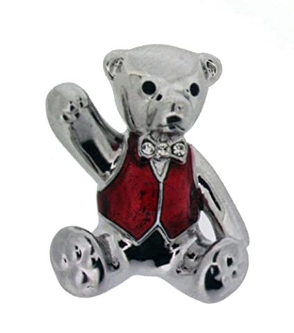 Jodie Rose Polished Silver Colour Teddy Shape with Red Enamel Waistcoat Base Metal Brooch