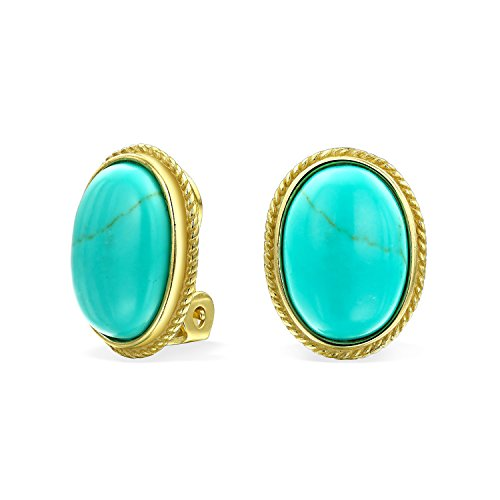 7Ct Oval Stabilized Turquoise Rope Cable Bezel Setting 14K Gold Plated Sterling Silver Clip On Earrings Clip Is Alloy