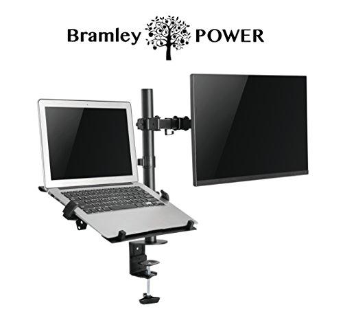 Bramley Power Dual Monitor Bildschirm Desk Mount Arm Doppel VESA Halterung für Twin 33cm zu 76,2cm Computer Display oder TV | Max neigbar, drehbar & schwenkbar Vesa Desk Mount