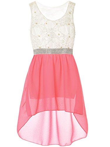 BEZLIT Mädchen Kinder Sommer-Kleid Spitze Glitzer Kurzarm Kunst-Perlen 22286 Pink Größe 176 (Glitzer-kleid Kinder)