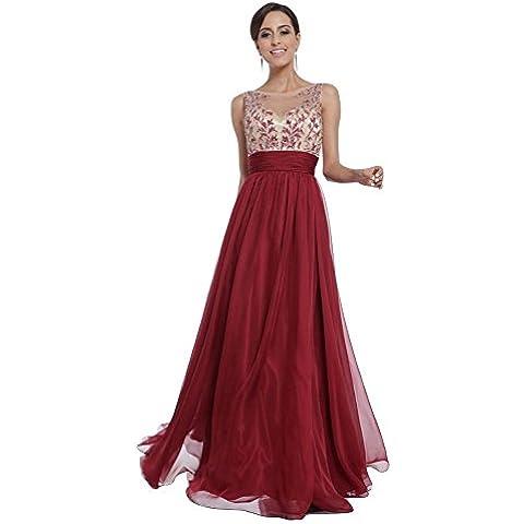 WintCO Vestido largo Rojo Traje de ceremonia Para baile Para la fiesta Restero Elegante Sin manga Barato En buena