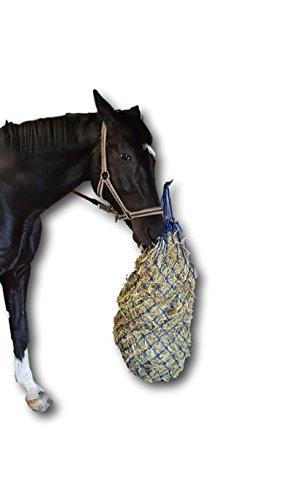 Heunetz für Pferde engmaschig 5x5cm Netz artgerechte Fütterung verbessert Verdauung & Wohlbefinden der Tiere Futter Stroh Futternetz Heusack - in blau, Länge ca. 106cm, ca. 3,5 kg Füllgewicht