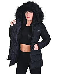 Softly Damen Mantel Wintermantel 4 Farben mit abnehmbarer Fellkapuze Parka 7807
