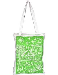 Eco Corner Small Warli Art Cotton Bag (White And Green)