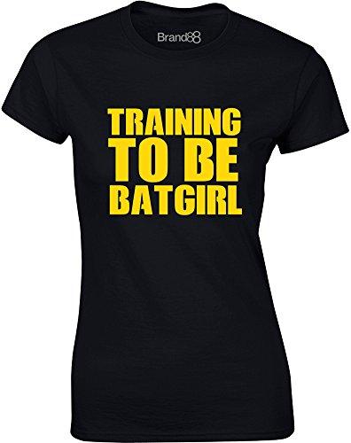 Brand88 - Training To Be Batgirl, Gedruckt Frauen T-Shirt Schwarz/Gelb