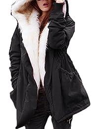 ZANZEA Mujer Chaqueta Abrigo Acolchado Grueso Largo Con Capucha Piel Sintética Invierno