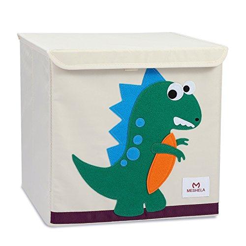 Meshela Boîte de Rangement Enfants Grande Coffret Capacité Pliable Dessin Animé sur Toile Cube Organiseur pour Vêtements/Chaussures/Jouets 33x33x33CM (Dinosaur)