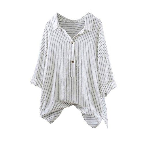 it Streifen Leinen Bluse Locker Hemd Longbluse Mode Frauen Damen Sommer Herbst Freien Baumwolle Solide Langarm-Shirt Beiläufige Lose Bluse ()