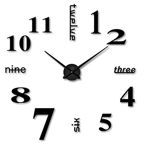 Fulltime(TM)-3D DIY Reloj de Pared Digital Creativa Decoración del Hogar Oficina de Moda (Negro)