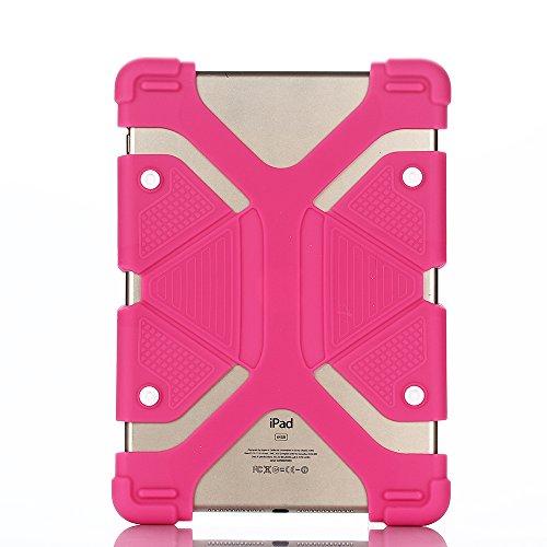 Silikon Ständer Kinder Hülle für Universal 8.9-12 inch Tablet,Aohro Lightweight DropProof Etui Schutzhülle Stoßfest Back Case Cover + Stylus Pen--Rose