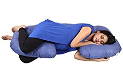 MomToBe C Shape Maternity Pillow With 100% Cotton Cover And Zippered Cover - Blue