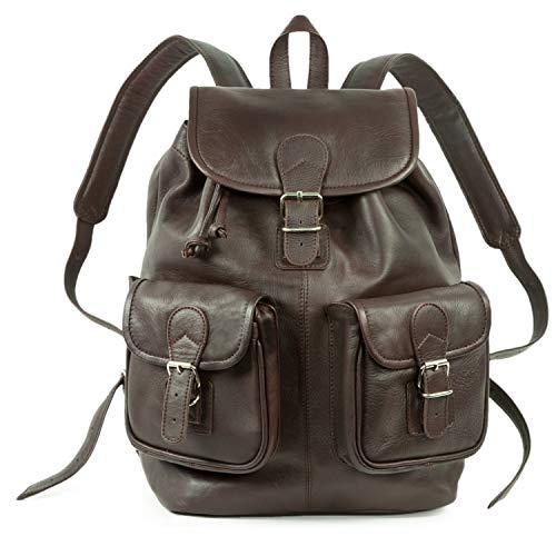 Großer Lederrucksack Größe L/Laptop Rucksack bis 15,6 Zoll, für Damen und Herren, aus Leder, Braun, Hamosons 560