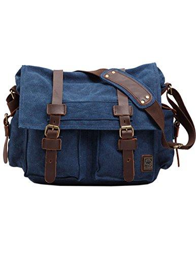 Menschwear Vintage Canvas Messenger Bags Casual Spalla Dell'imbracatura Pacchetto Daypack Caffè Blu