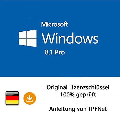 MS Windows 8.1 Pro 32 bit & 64 bit Vollversion Original Lizenzschlüssel per Post und E-Mail + Anleitung von TPFNet® - Versand maximal 60Min