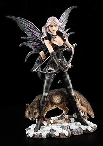 Fantasy Elfen Figur - Bogenschützin mit Wolf | Dekoartikel, Handbemalt