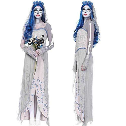 KAIDILA Halloween White Ghost Kleid Langer Rock Ghost Braut Kostüm Prom Cosplay Kostüm Kostüm Tod Performance Geisterkostüm
