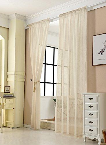 WOLTU® VH5859sd-2, 2er Set Gardinen transparent mit Kräuselband Leinen Optik, Doppelpack Vorhang Stores Voile Fensterschal Dekoschal für Wohnzimmer Kinderzimmer Schlafzimmer, 140x245 cm, Sand