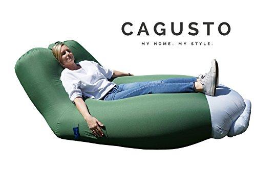 air-sofa CAGUSTO® grün Sitzkissen aufblasbar mit Rückenlehne verstellbar, air-lounger mit Kissen für Camping, Strand und Garten, Liegesack Bezug abnehmbar und waschbar, Luftmatratze Luftsofa Couch platzsparend, faltbar und tragbar, lazybag inkl. Rucksack