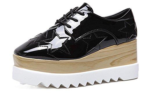YCMDM Femmes 2017 Chaussures épaisses Chaussures Loose Femmes talon unique Chaussures Casual Black