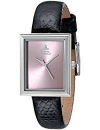 Vivienne Westwood The Berkeley Square Girl's Quartz Watch with Pink Dial Analogue Display and Black Leather Strap VV115PKBK