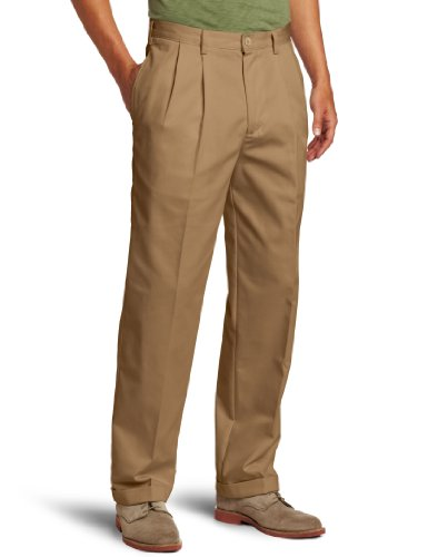 IZOD Men's American Chino Pleated Pant, English Khaki, 34W x 34L Pleated Chino-hose