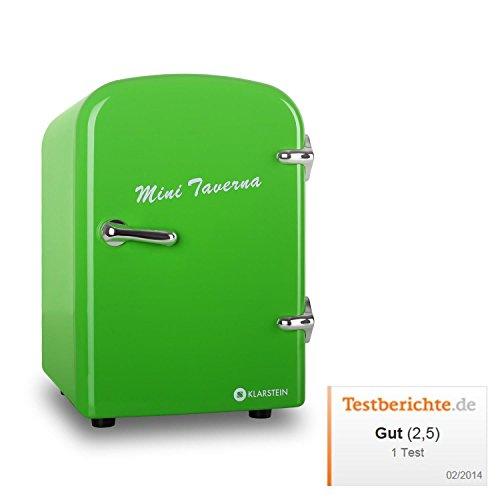 Klarstein • Mini Taverna • Mini-Kühlschrank • Hotelkühlschrank • Kühlbox • Warmhaltebox • 4 Liter • 42 Watt • 50er Jahre Design • Tragegriff • herausnehmbarer Einschub • sicherer Türverschluss • Lüfter • Standfüße • leise • leicht zu reinigen • ca. 2,0 kg • grün