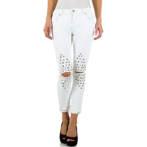 Mozzaar Destroyed Low Skinny Jeans Für Damen bei Ital-Design Weiß