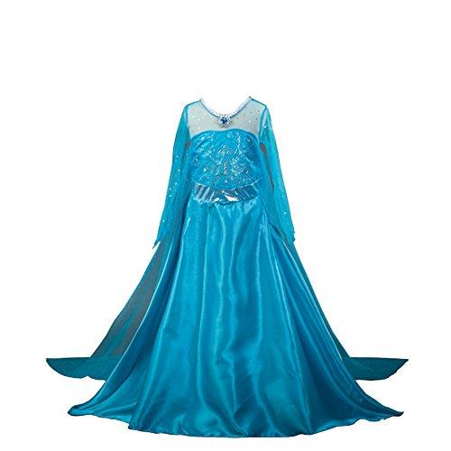 D'amelie Eiskönigin Prinzessin Kostüm Cinderella Kinder Glanz Kleid Mädchen Weihnachten Verkleidung Karneval Party Halloween (Ariel Kostüm Kleid)