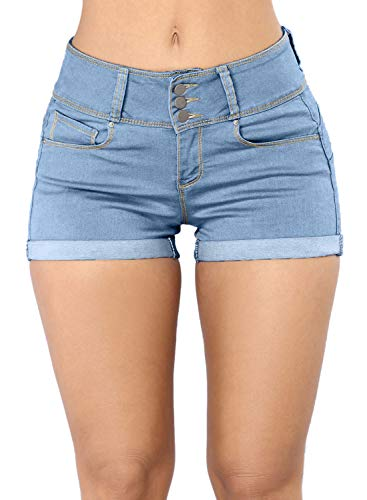 Dokotoo Damen Shorts Sommer Jeans Hosen Basic Niedrige Taille Jeansshorts Löcher Lässig Casual Destroyed Skinny Stretch Beiläufig Blau XXL -
