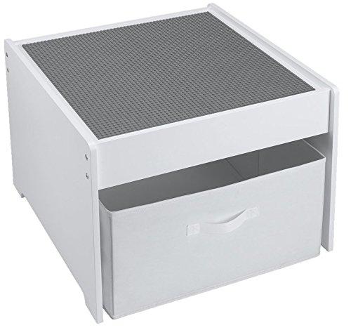 Fridakids 2in1 Spieltisch aus MDF-Holz, Bauplatten kompatibel für Bausteine, inklusive Aufbewahrungsbox. Platten: (Grau) -