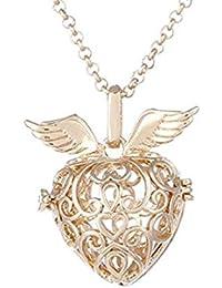 35458b4af9ea GYKMDF Colgante con Forma de corazón y relicario con diseño de alas de Amor