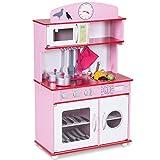 COSTWAY Kinderküche Spielküche Holz Kinderspielküche Spielzeugküche Spielzeug Holzküche mit Zubehör (Rosa)