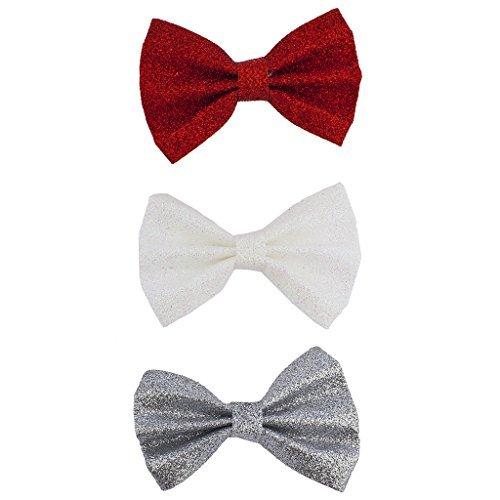 hten rot weiß silber Glitter Schleife Haar Clips (3) (Großhandel-zubehör)