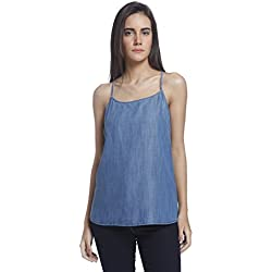 Vero Moda Women's Body Blouse Top (10182433_Medium Blue Denim_Medium)