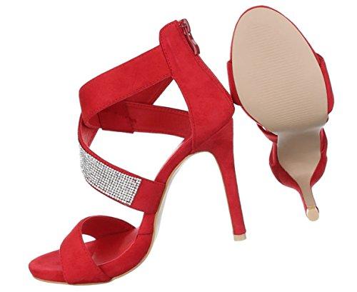accb7f0be6c113 ... Damen Sandaletten Schuhe Pumps Abendschuhe Elegant Party Club High-Heel  Peep-toe Strass Schwarz ...