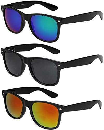 X-CRUZE 3er Pack X0 Nerd Sonnenbrillen Vintage Retro Style Stil Design Unisex Herren Damen Männer Frauen Brillen Nerdbrille Nerdbrillen - schwarz - Set A -