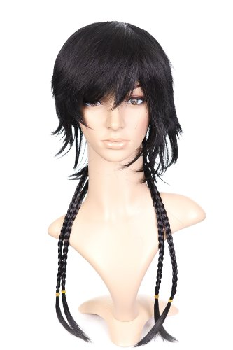 Nero Short Length Anime Cosplay Costume Parrucca with Thin Braids