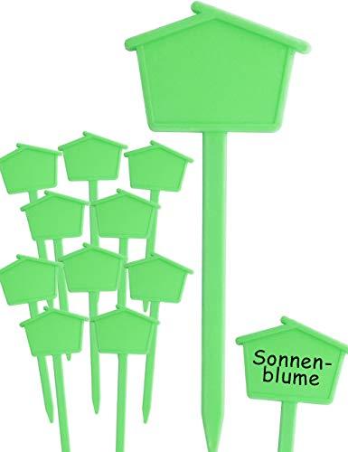 HomeTools.eu® - 10 Pflanz-Schilder | Steck-Etiketten Pflanzen-Stecker | Kunststoff, beschreibbar, für außen, verwitterungsfest | Häuschen, 13,5cm, Grün