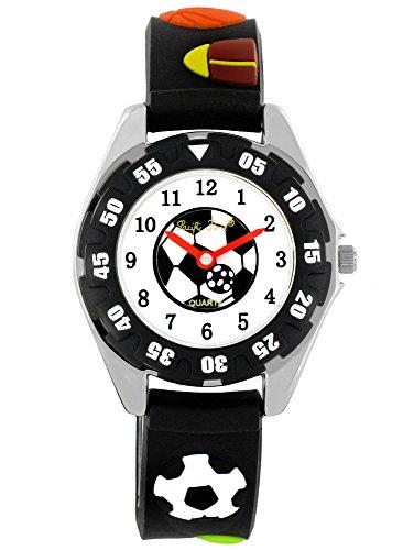 Pacific Time Kinder-Armbanduhr Fußball Sport Uhr Jungen Mädchen Ballspiele Analog Quarz schwarz 21559