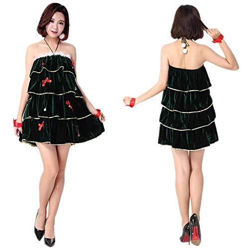 Womens Kostüm Weihnachtsbaum - KAIDILA Weihnachtskostüm Cosplay Sexy Weihnachtsbaum Kostüm Erwachsene Weihnachten Kleid Womens Weihnachten Kleid grün vielschichtige Ban Deau Kleid Weihnachts-Outfit