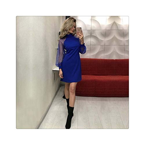 Fashion Slim Solid Women Formal Wedding Bridesmaid Turtleneck Party Ball Prom Gown Long Sleeve Dress Autumn Clothes Blue M